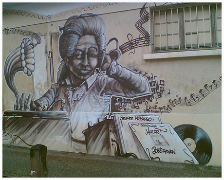 Wolfgang Amadeus Mozart Updated in Urban Graffiti Mural