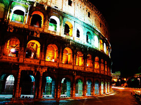 Lit Up Roman Coliseum at Night