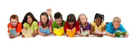 Row of Happy Children Reading Books