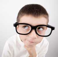 Smart Kid with Glasses Thinking