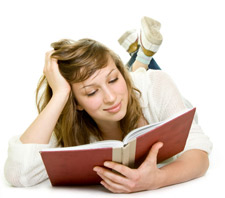 Teenage Girl reading a Good Book