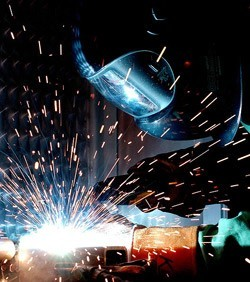 Welders Mask Reflecting Sparks from Weld