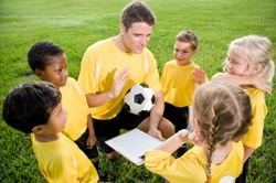 Youth Soccer Team Meeting Circle