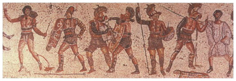 The Ziten Mosaic Picturing Roman Gladiators